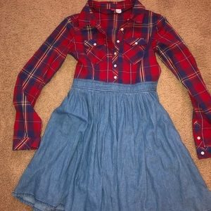 Plaid and denim dress